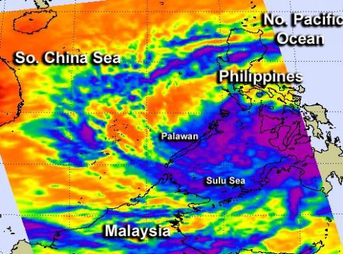 NASA satellite sees Tropical Depression 02W soak the Philippines