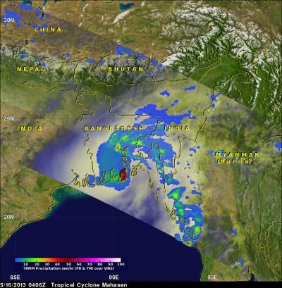 NASA sees Cyclone Mahasen hit Bangladesh