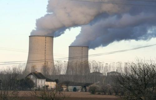 Cooling towers at the Golfech nuclear power plant, southwestern France, on November 27, 2012