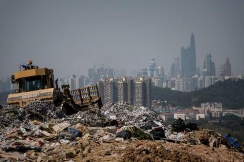This picture taken on March 6, 2013 shows a landfill in the new territories of Hong Kong