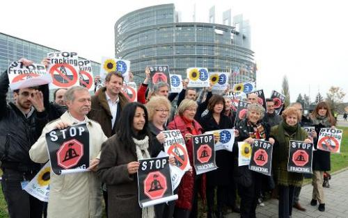 Members of the European Parliament Green group protest in Strasbourg, eastern France, on November 21, 2012 against fracking