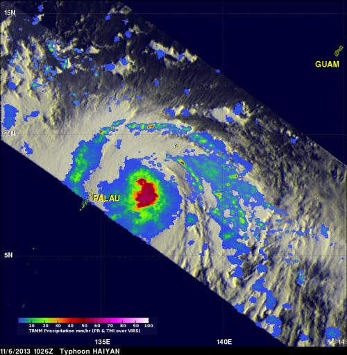 NASA sees heavy rain around Super-Typhoon Haiyan's eye