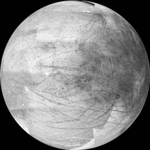 A 12-frame mosaic released by NASA 06 March 2000 provides a view of the side of Jupiter's moon Europa