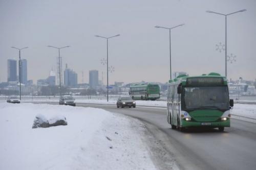 A bus plies a frozen Tallinn road on January 17, 2013