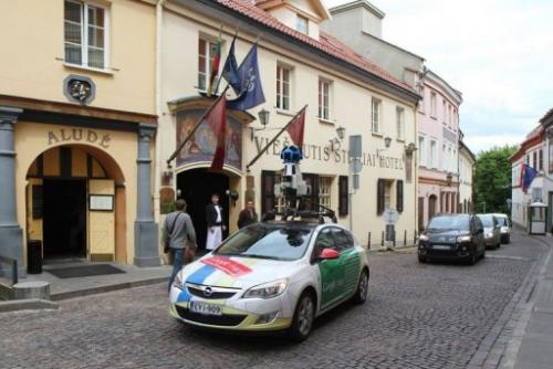 A car operating for Google Street drives through the old town in Vinius on June 7, 2012