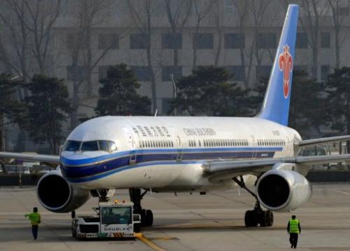 A China Southern Airlines airplane prepares to take off at Beijing's Capital Airport on March 10, 2008