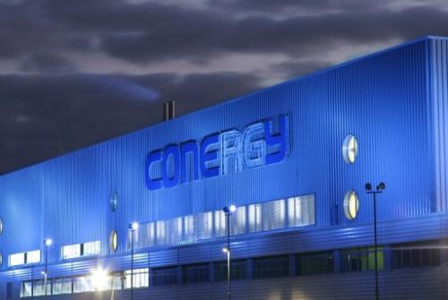 A Conergy solar panel factory in Frankfurt an der Oder, eastern Germany