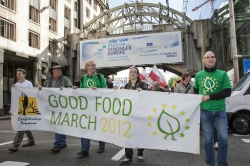 A delegation of European farmers and Friends of the Earth Europe march outside EU buildings, Brussels, September 19 2012