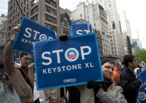 A demonstration in New York on May 13, 2013 against the Keystone XL pipeline