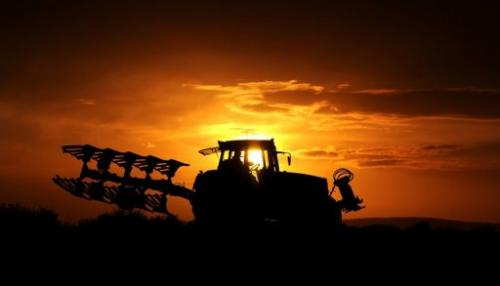 A farmer drives a tractor through a field as the sun sets in the northern German town of Pattensen on October 13, 2012