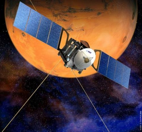 A file picture released by the European Space Agency (ESA) in 2003 shows an artist's rendition of the Mars Express