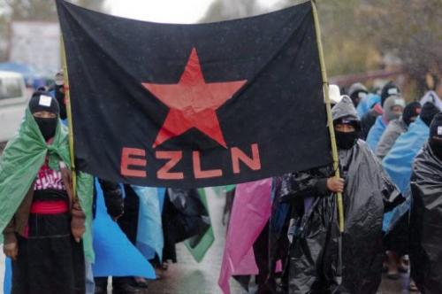 A flag of the Zapatista Army of National Liberation during a march in San Critobal de las Casa, December 21, 2012