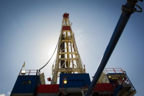 A gas drilling rig explores the Marcellus Shale outside the town of Waynesburg, Pennsylvania on April 13, 2012