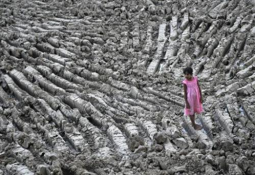 A girl stands in a dry lake in Dala township on the outskirts of Yangon, Myanmar, in a picture taken on May 8, 2013