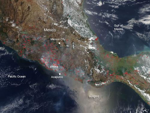 Agricultural fires dot Mexico