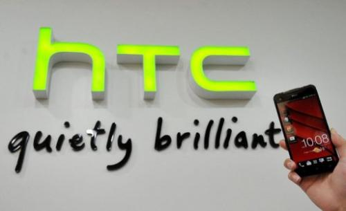 A HTC Butterfly phone is displayed in a HTC store in the New Taipei City on January 7, 2013
