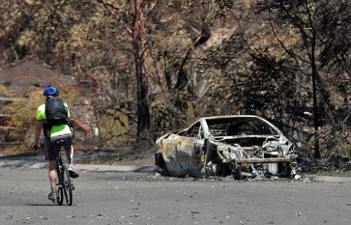 A man rides past a car burnt out by bush fires in Springwood in the Blue Mountains on October 23, 2013