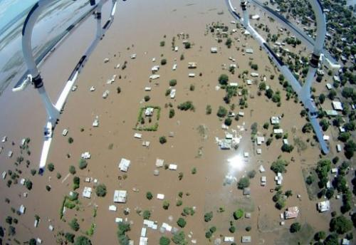 An aerial photo shows the devastated Chokwe town on January 25, 2013