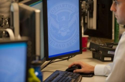 An analyst at the US National Cybersecurity & Communications Integration Center works in Arlington, September 24, 2010