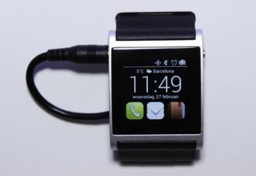 An Apple iWatch displayed on February 27, 2013 at the Mobile World Congress in Barcelona