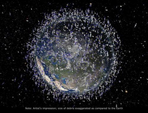 An artists impression of the debris field in low-Earth orbit