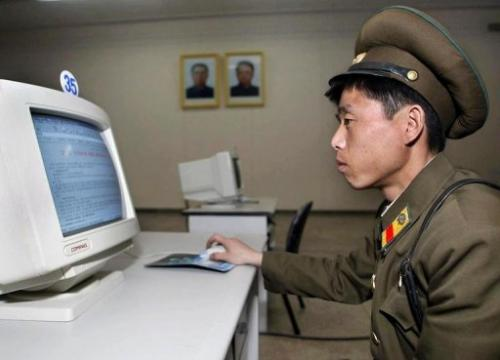 A North Korean soldier, seen using a computer, in Pyongyang, on March 28, 2002