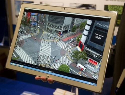 A Panasonic 4K tablet with a 20-inch screen on show on Capitol Hill in Washington DC on April 16, 2013