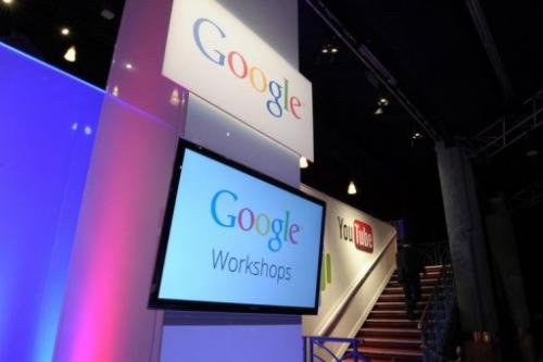 A picture shows logos of Google on December 4, 2012 during LeWeb Paris 2012 in Saint-Denis near Paris