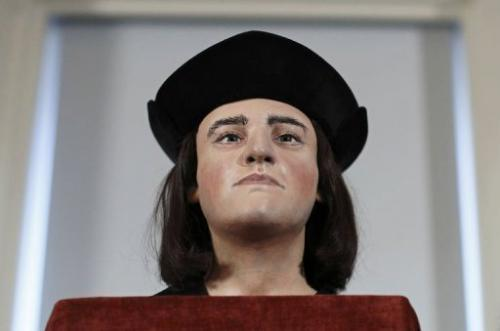 A plastic facial model of England's king Richard III pictured in London on February 5, 2013