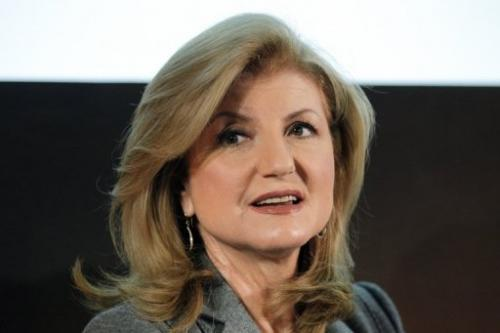 Arianna Huffington answers questions during a press conference in Paris, on January 23, 2012