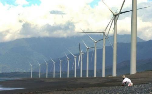 A row of windmills on Bangui Bay in Ilocos Norte, northern Philippines is pictured on September 27, 2005
