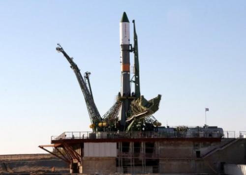 A Russian Soyuz-U booster carrying  Progress spacecraft, seen at the Kazakhstan Baikonur cosmodrome, on October 29, 2012
