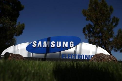 A sign is posted in front of a Samsung Electronics office on July 30, 2012 in San Jose, California