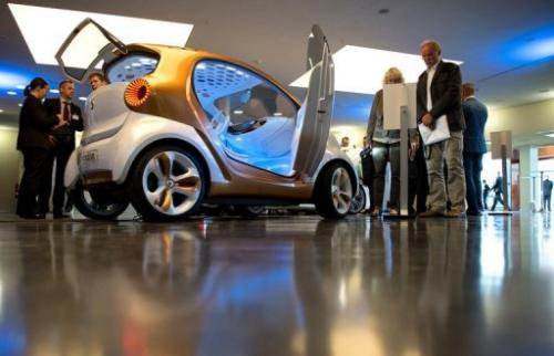 A Smart Forvision concept car is pictured at the Electric Mobility conference in Berlin on May 27, 2013