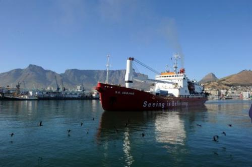 A South African ice-strengthened polar research/supply vessel leaves Cape Town on January 7, 2013