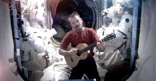 Astronaut makes music video aboard space station
