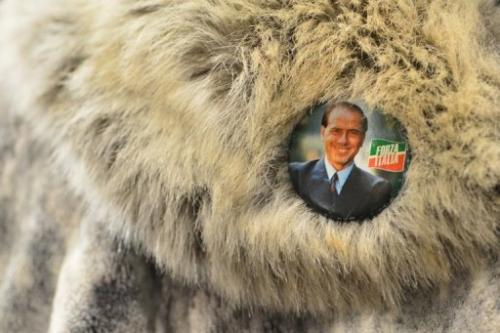 A supporter wears a Silvio Berlusconi badge on February 3, 2013 in Milan