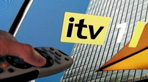 A television screengrab shows the ITV logo, in London, on August 6, 2008