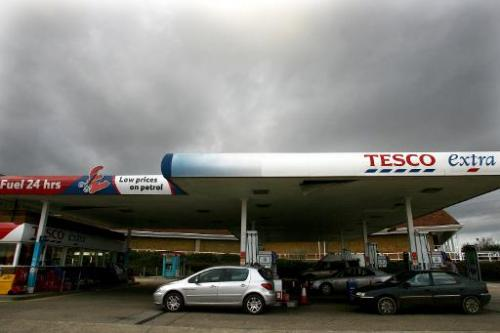 A Tesco Petrol station is pictured in Ipswich, eastern England, on March 1, 2007