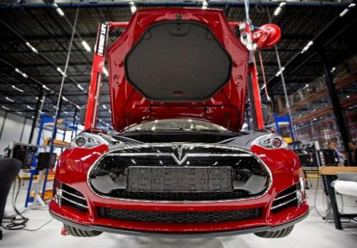 A Tesla car on an assembly line at the factory in Tilburg, the Netherlands, on August 22, 2013