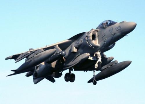 A US AV-8B Harrier jet prepares to land on the flight deck of an amphibious assault ship, on January 10, 2005