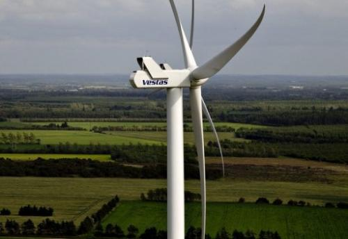 A Vestas turbine near Baekmarksbro in Denmark's Jutland region on June 29, 2012
