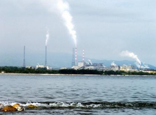 A view of the Baikalsk Pulp and Paper Mill,  on the shores of Russia's Lake Baikal, taken on August 11, 2003