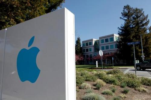 A view of the main entrance to Apple Inc. in Cupertino, California on March 11, 2011