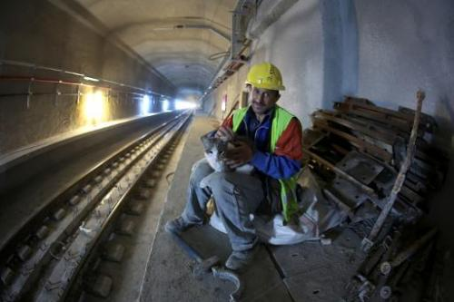 A worker holds a cat in the Marmaray Tunnel under the Bosphorus on April 18, 2013, in Istanbul