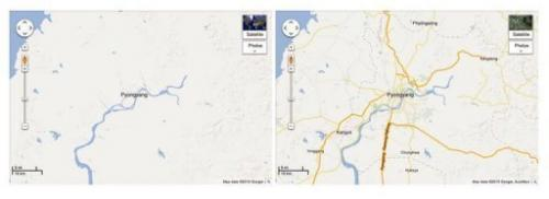 Before (L) and after  (R) images of North Korea on Google Maps, January 29, 2013