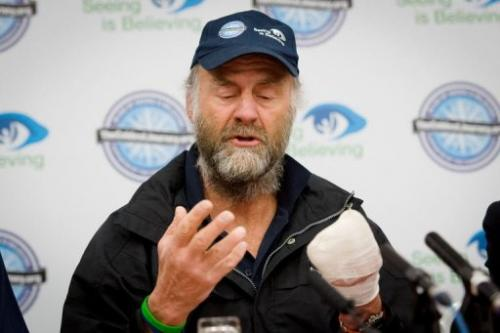 British explorer Sir Ranulph Fiennes speaks to members of the media in London on March 4, 2013