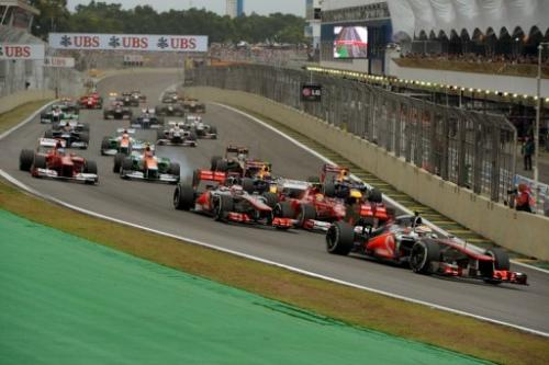 British Formula One driver Lewis Hamilton leads the pack at the Interlagos track, Sao Paulo, Brazil, November 25, 2012