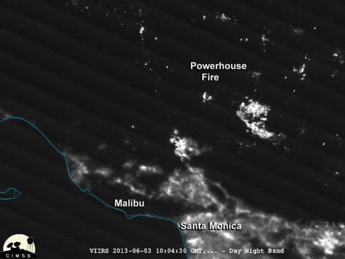 California's powerhouse fire at night