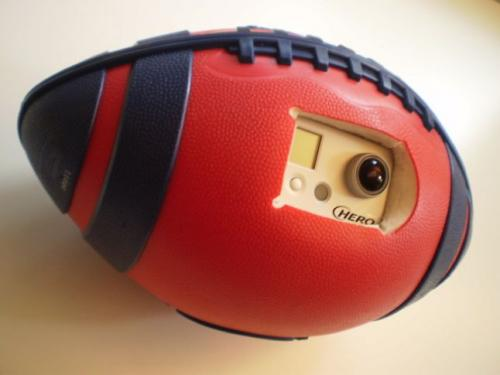 Camera inside spiraling football provides ball's-eye view of field